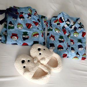 Sleep Sense Intimates   Sleepwear - Snowman Pajamas Set Portuguese Flannel  Sleep Sense eda99b547